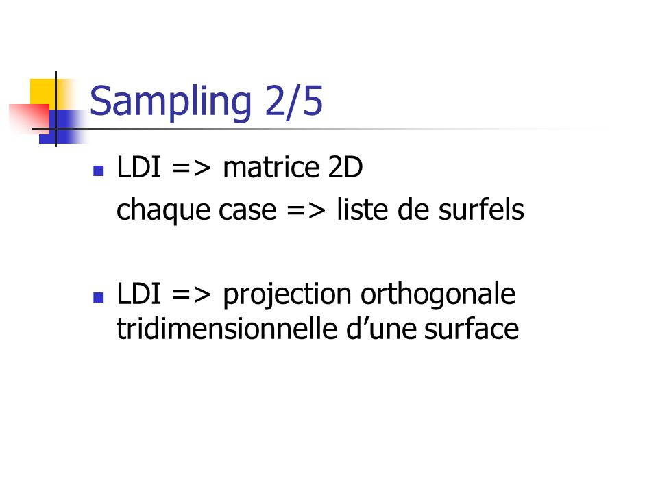 Sampling 3/5 problème docclusion view