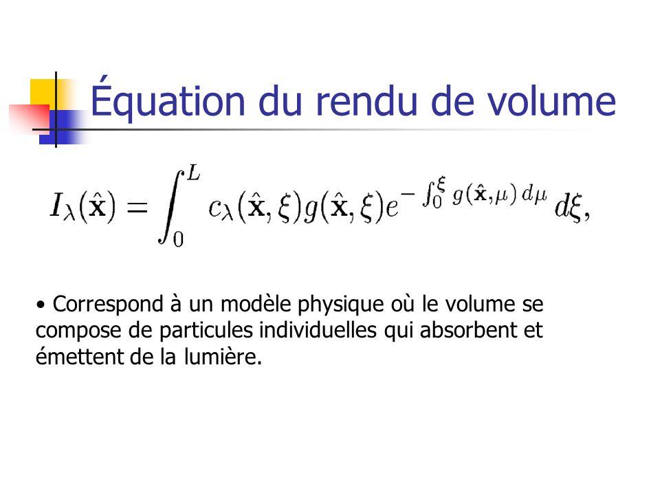 Équation du rendu de volume Correspond à un modèle physique où le volume se compose de particules individuelles qui absorbent et émettent de la lumièr