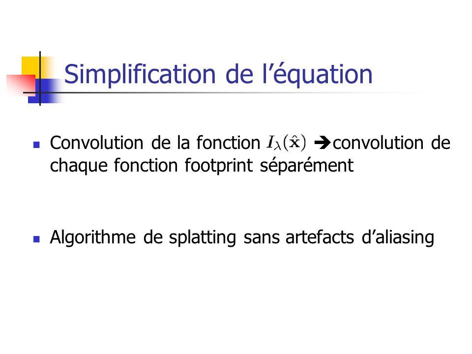 Simplification de léquation Convolution de la fonction convolution de chaque fonction footprint séparément Algorithme de splatting sans artefacts dali