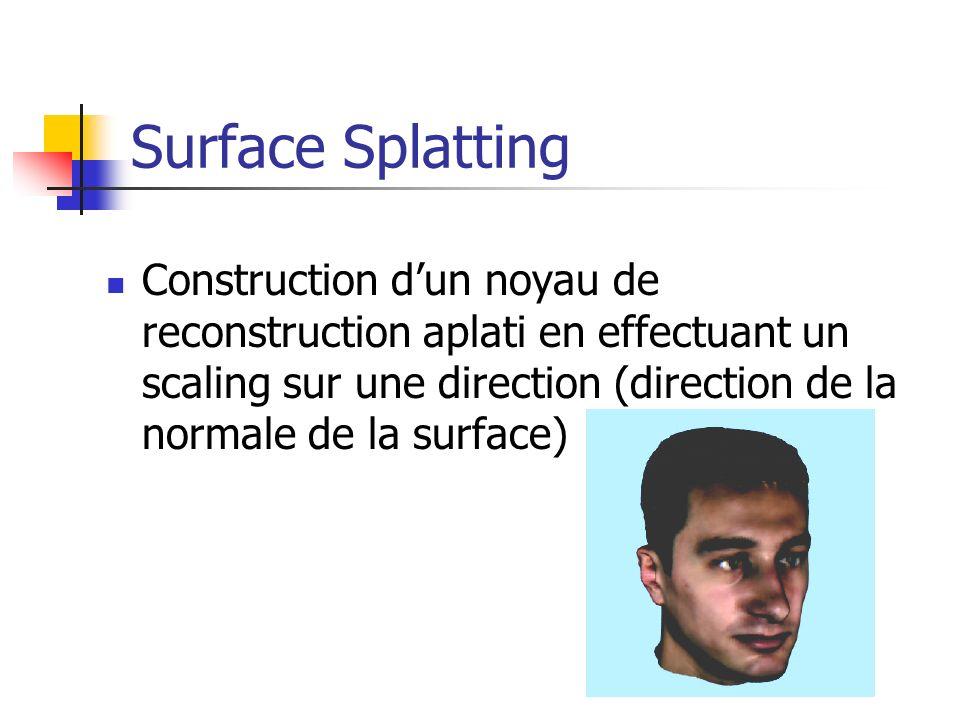 Construction dun noyau de reconstruction aplati en effectuant un scaling sur une direction (direction de la normale de la surface)