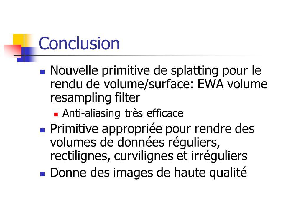 Conclusion Nouvelle primitive de splatting pour le rendu de volume/surface: EWA volume resampling filter Anti-aliasing très efficace Primitive appropr