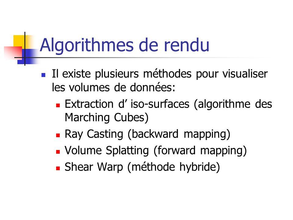 Algorithmes de rendu Il existe plusieurs méthodes pour visualiser les volumes de données: Extraction d iso-surfaces (algorithme des Marching Cubes) Ra