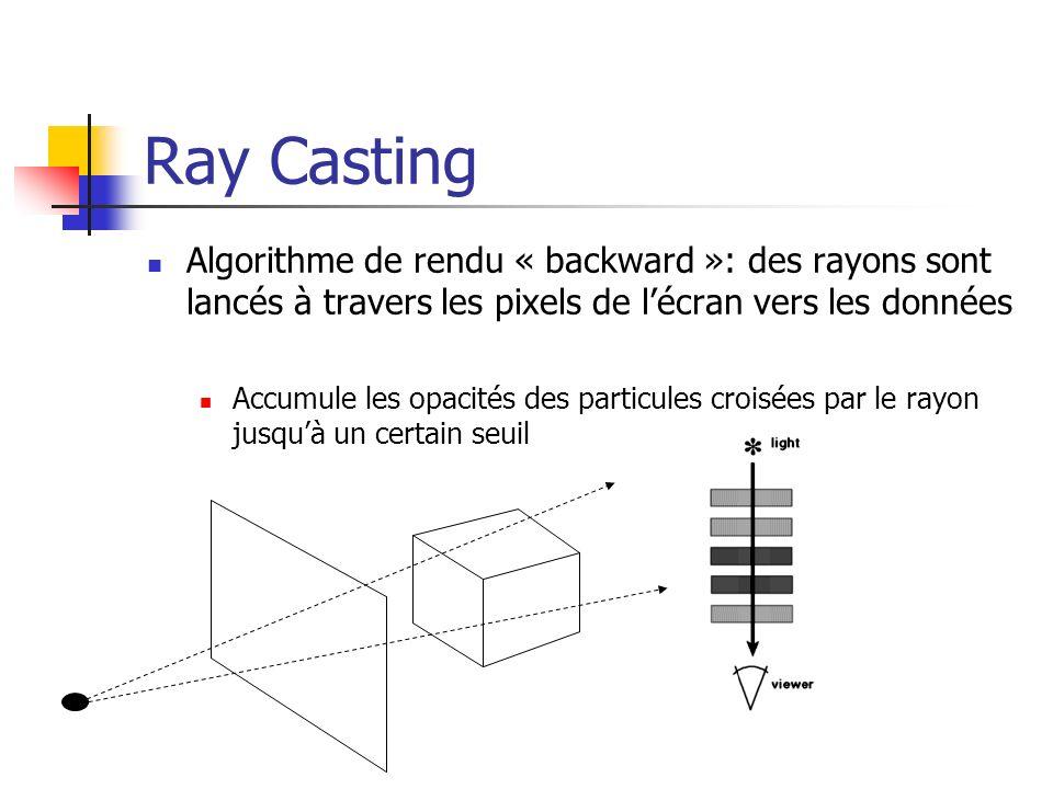 Ray Casting Détermination de lopacité pour chaque échantillon du volume traversé par un rayon (calcul dune intégrale le long du rayon) Application dune convolution 3D à chaque échantillon rencontré => plusieurs «échantillons » contribuent à un pixel Complexité: Au moins k 3 n 3 (n: dimension du volume de données)