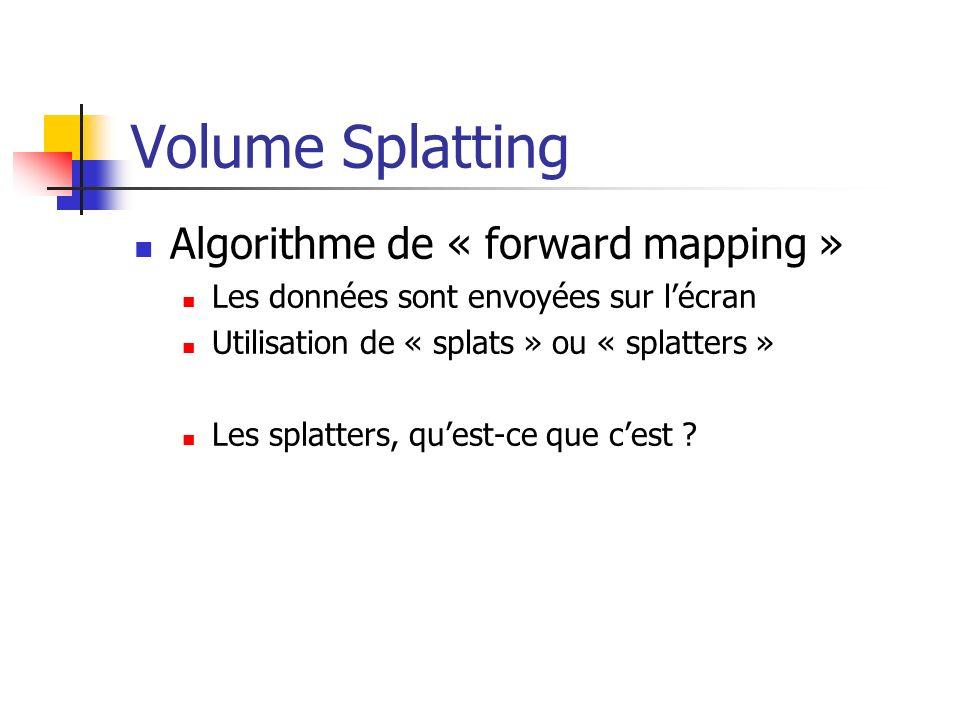 Volume Splatting Algorithme de « forward mapping » Les données sont envoyées sur lécran Utilisation de « splats » ou « splatters » Les splatters, ques