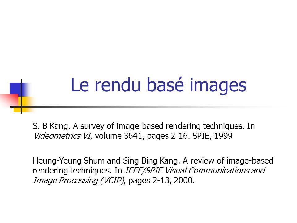 Le rendu basé images S.B Kang. A survey of image-based rendering techniques.