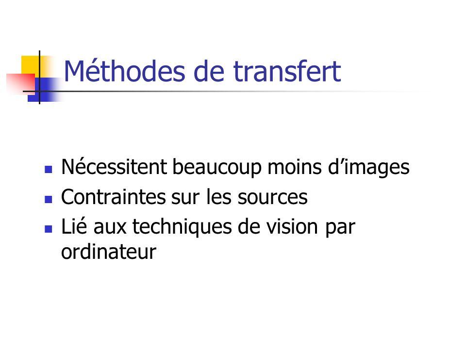 Méthodes de transfert Nécessitent beaucoup moins dimages Contraintes sur les sources Lié aux techniques de vision par ordinateur