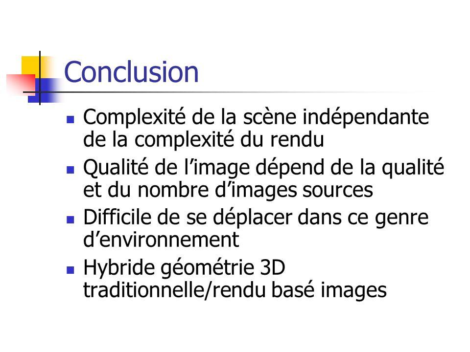 Conclusion Complexité de la scène indépendante de la complexité du rendu Qualité de limage dépend de la qualité et du nombre dimages sources Difficile de se déplacer dans ce genre denvironnement Hybride géométrie 3D traditionnelle/rendu basé images