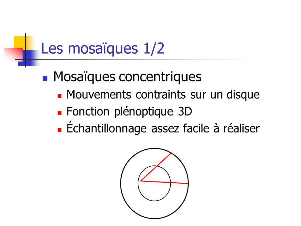 Les mosaïques 1/2 Mosaïques concentriques Mouvements contraints sur un disque Fonction plénoptique 3D Échantillonnage assez facile à réaliser