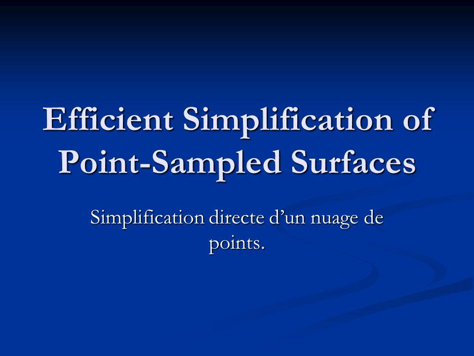 Résultats Simpification par points P (134 345 points) Iterative Simplification (~3,5) P (5 000 points) Triangularisation (2,45) S Simplification par mesh P (134 345 points) Triangularisation (112,8) S Mesh Simplification QSlim (~3,5) S