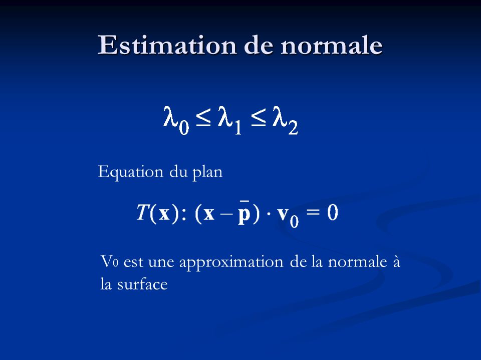 Estimation de normale Equation du plan V 0 est une approximation de la normale à la surface