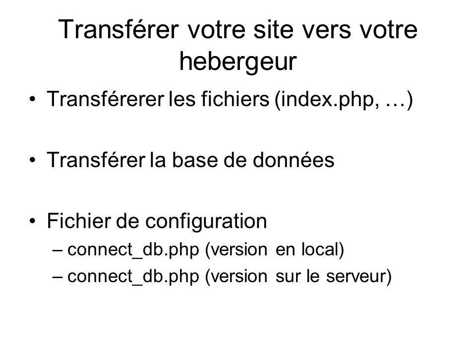 Transférer des fichiers vers votre hebergeur FTP (File transfer protocol) Client FTP : Filezilla, FTP Expert, SmartFTP, … Addresse FTP ftp.ifrance.com ftp.numericable.fr ftp.membres.lycos.fr ftp.wanadoo.fr Nom d utilisateur preuter Mot de passe -----------------