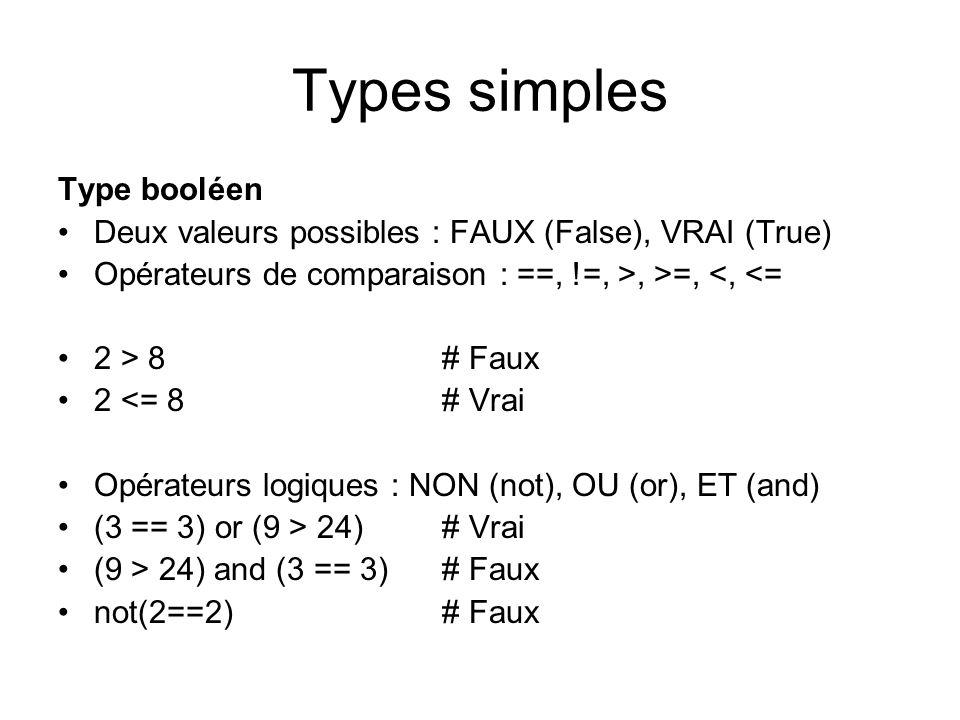 Types simples Type booléen Deux valeurs possibles : FAUX (False), VRAI (True) Opérateurs de comparaison : ==, !=, >, >=, <, <= 2 > 8 # Faux 2 <= 8 # V