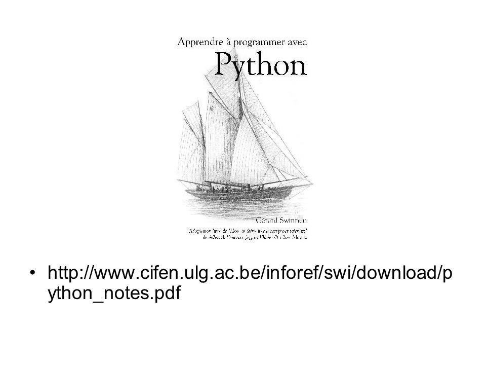 http://www.cifen.ulg.ac.be/inforef/swi/download/p ython_notes.pdf