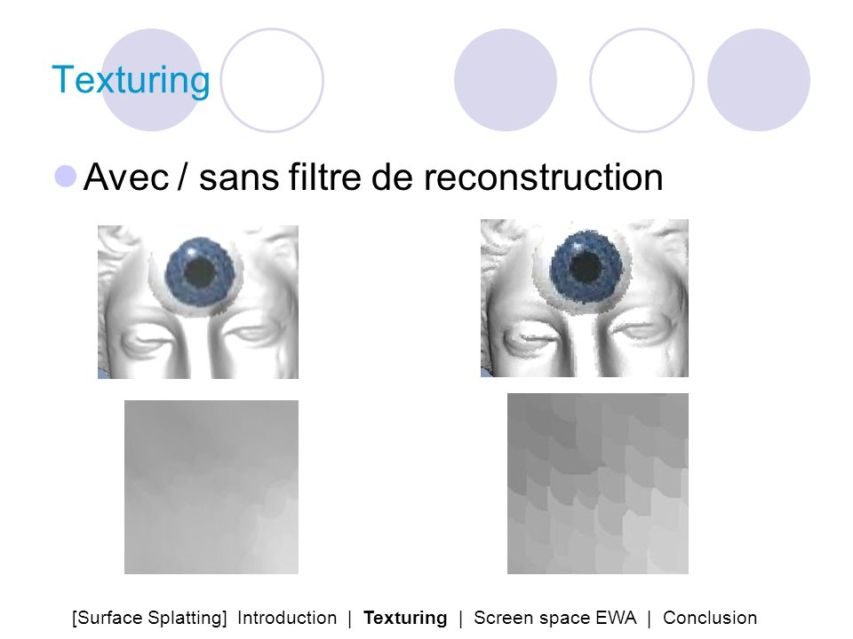 Texturing Avec / sans filtre de reconstruction [Surface Splatting] Introduction | Texturing | Screen space EWA | Conclusion