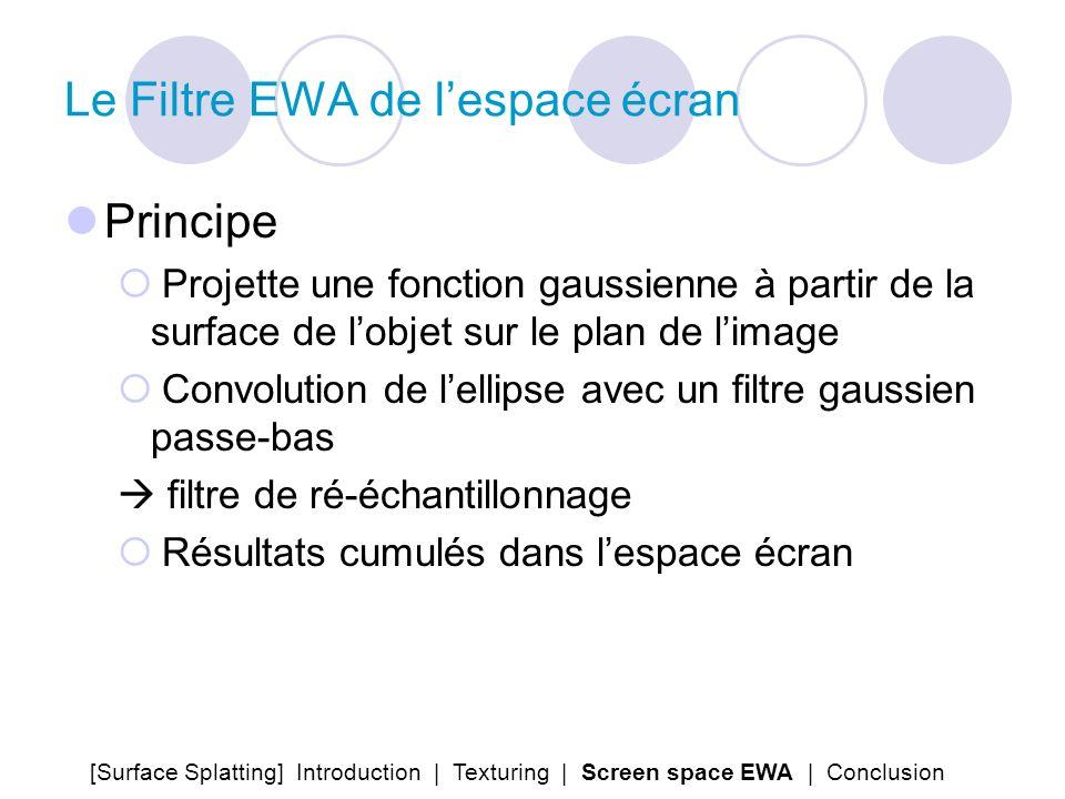 Le Filtre EWA de lespace écran Principe Projette une fonction gaussienne à partir de la surface de lobjet sur le plan de limage Convolution de lellips
