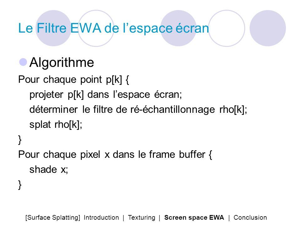 Le Filtre EWA de lespace écran Algorithme Pour chaque point p[k] { projeter p[k] dans lespace écran; déterminer le filtre de ré-échantillonnage rho[k]