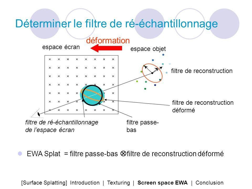 Déterminer le filtre de ré-échantillonnage filtre de reconstruction déformation espace écran espace objet filtre de ré-échantillonnage de lespace écra
