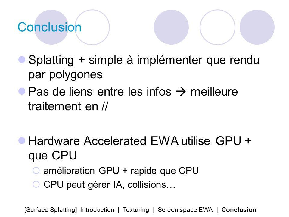 Conclusion Splatting + simple à implémenter que rendu par polygones Pas de liens entre les infos meilleure traitement en // Hardware Accelerated EWA u
