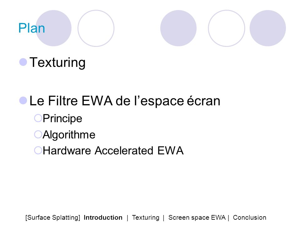 Plan Texturing Le Filtre EWA de lespace écran Principe Algorithme Hardware Accelerated EWA [Surface Splatting] Introduction | Texturing | Screen space