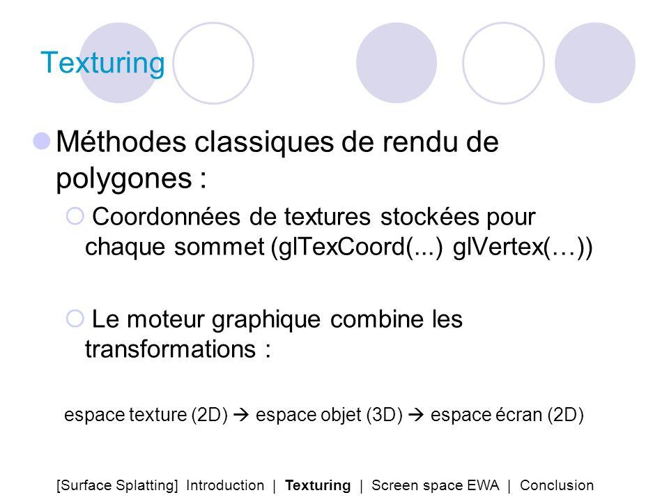 Texturing Méthodes classiques de rendu de polygones : Coordonnées de textures stockées pour chaque sommet (glTexCoord(...) glVertex(…)) Le moteur grap