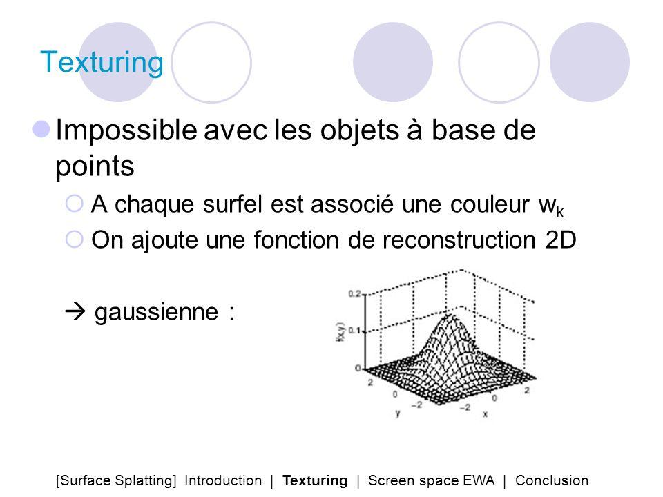 Texturing Impossible avec les objets à base de points A chaque surfel est associé une couleur w k On ajoute une fonction de reconstruction 2D gaussien
