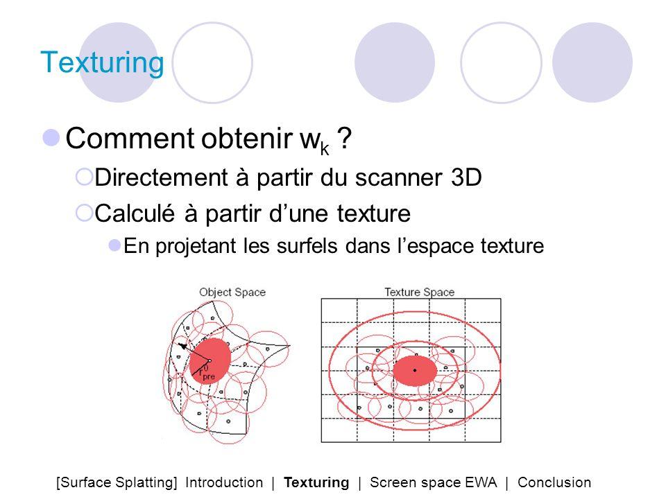 Texturing Comment obtenir w k ? Directement à partir du scanner 3D Calculé à partir dune texture En projetant les surfels dans lespace texture [Surfac