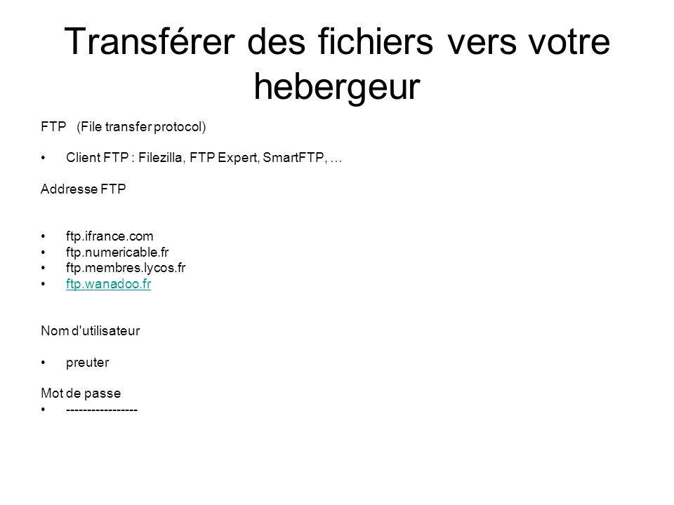 Transférer des fichiers vers votre hebergeur FTP (File transfer protocol) Client FTP : Filezilla, FTP Expert, SmartFTP, … Addresse FTP ftp.ifrance.com