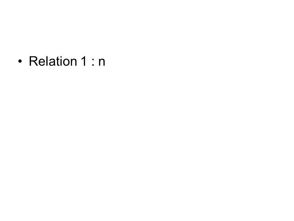 Relation de type 1:1 Une entité est partenaire de exactement une autre entité Exemples: Mariage : Une personne est marié avec exactement une autre personne Personne 1:1 Personne Immatriculation : Une véhicule à exactement une immatriculation Véhicule 1:1 Immatriculation Stade : Dans notre exemple, un club a exactement un stade Club 1:1 Stade