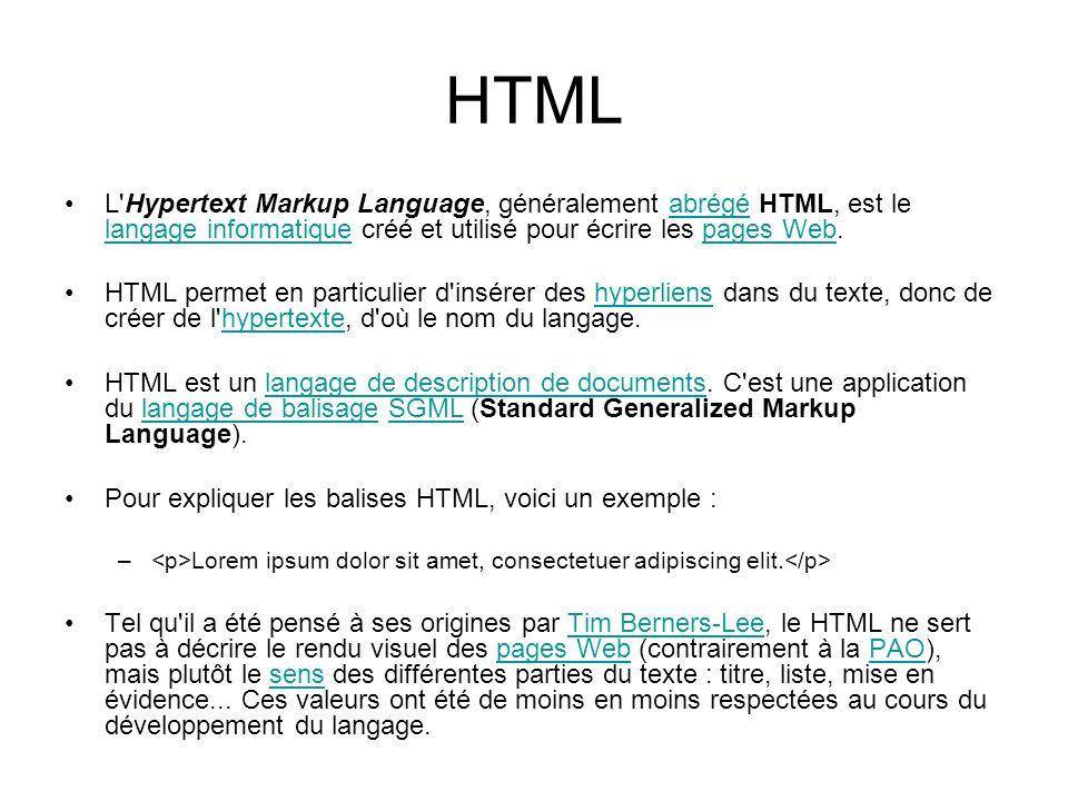 HTML L'Hypertext Markup Language, généralement abrégé HTML, est le langage informatique créé et utilisé pour écrire les pages Web.abrégé langage infor