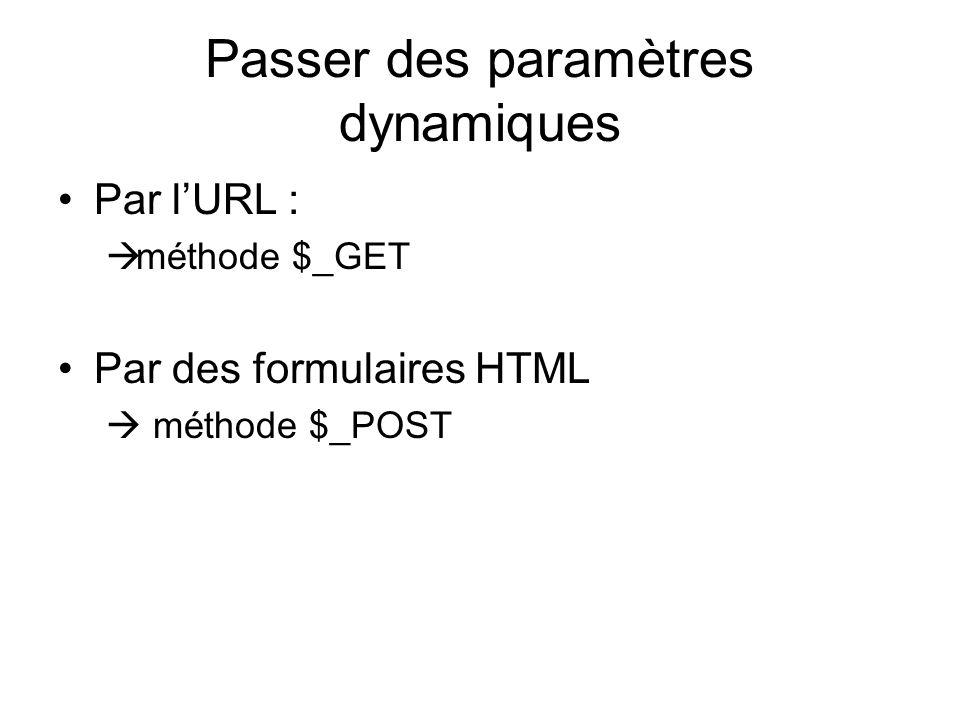 Passer des paramètres dynamiques Par lURL : méthode $_GET Par des formulaires HTML méthode $_POST