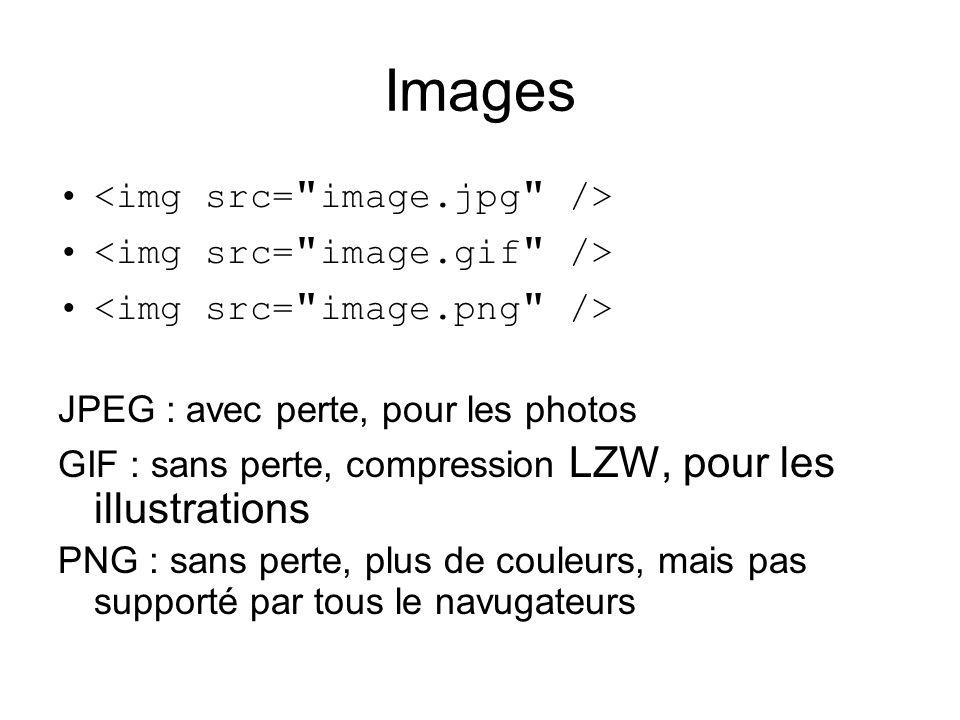 Images JPEG : avec perte, pour les photos GIF : sans perte, compression LZW, pour les illustrations PNG : sans perte, plus de couleurs, mais pas supporté par tous le navigateurs