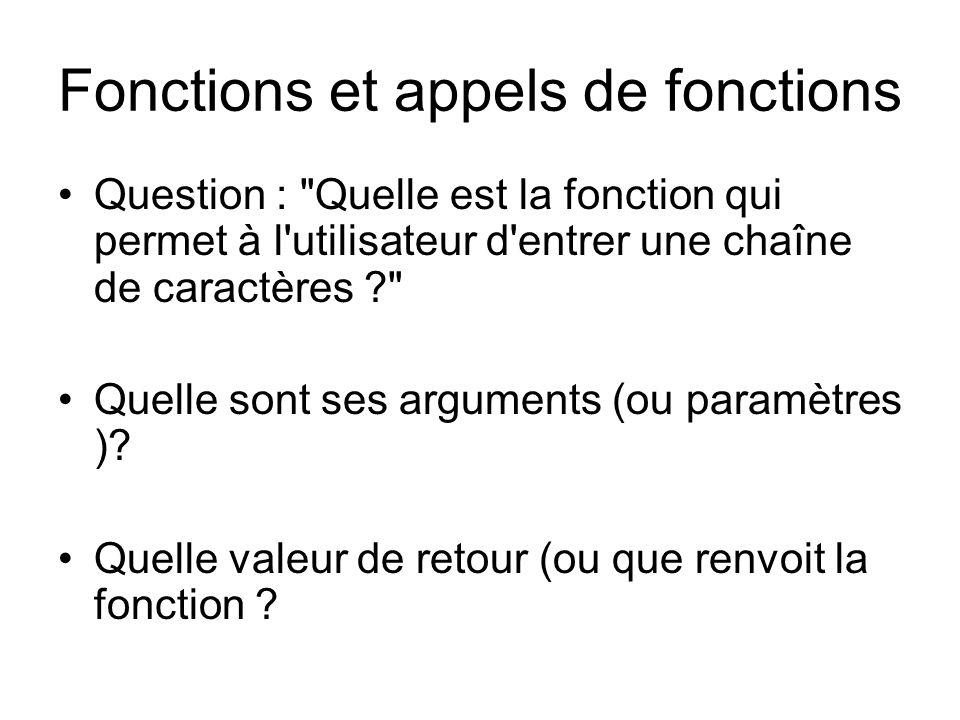 Fonctions et appels de fonctions Question : Quelle est la fonction qui permet à l utilisateur d entrer une chaîne de caractères Quelle sont ses arguments (ou paramètres ).