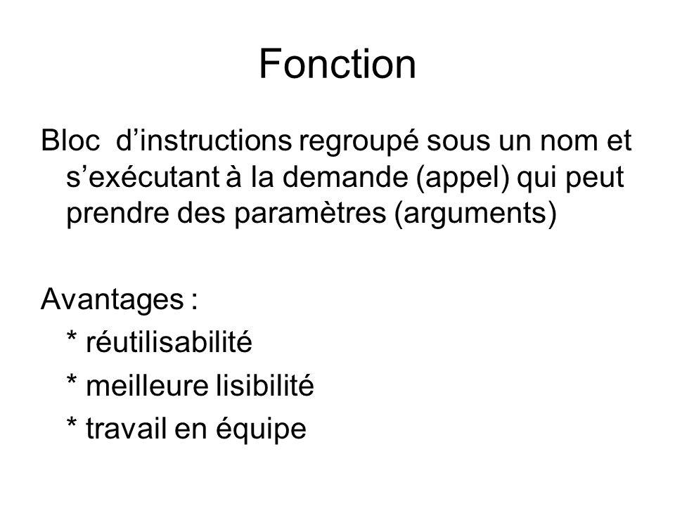 Fonction Bloc dinstructions regroupé sous un nom et sexécutant à la demande (appel) qui peut prendre des paramètres (arguments) Avantages : * réutilisabilité * meilleure lisibilité * travail en équipe