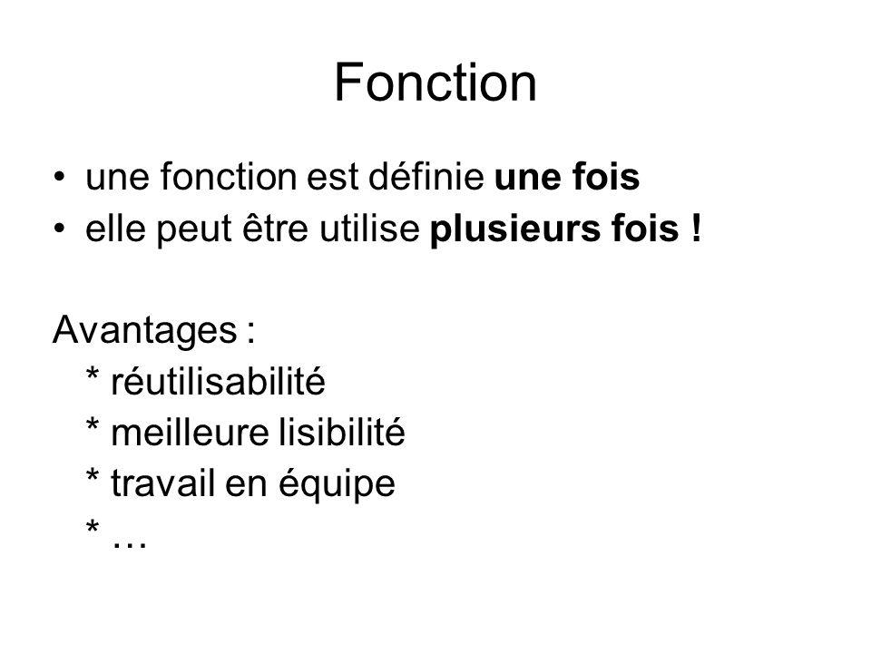 Fonction une fonction est définie une fois elle peut être utilise plusieurs fois .