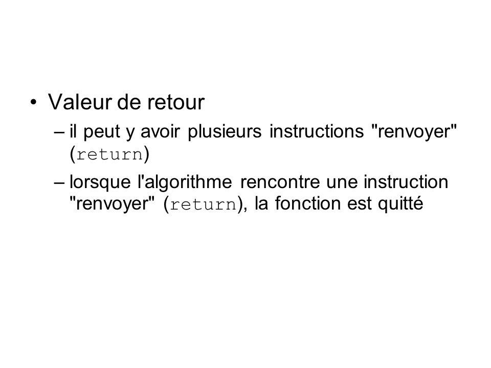 Valeur de retour –il peut y avoir plusieurs instructions renvoyer ( return ) –lorsque l algorithme rencontre une instruction renvoyer ( return ), la fonction est quitté