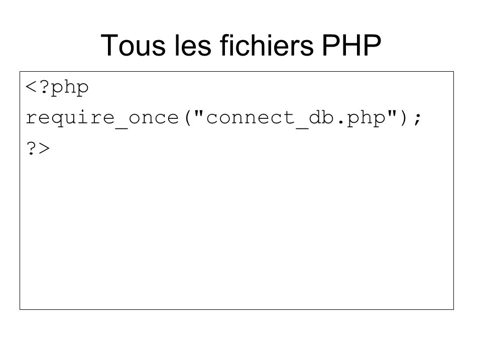 Tous les fichiers PHP <?php require_once(