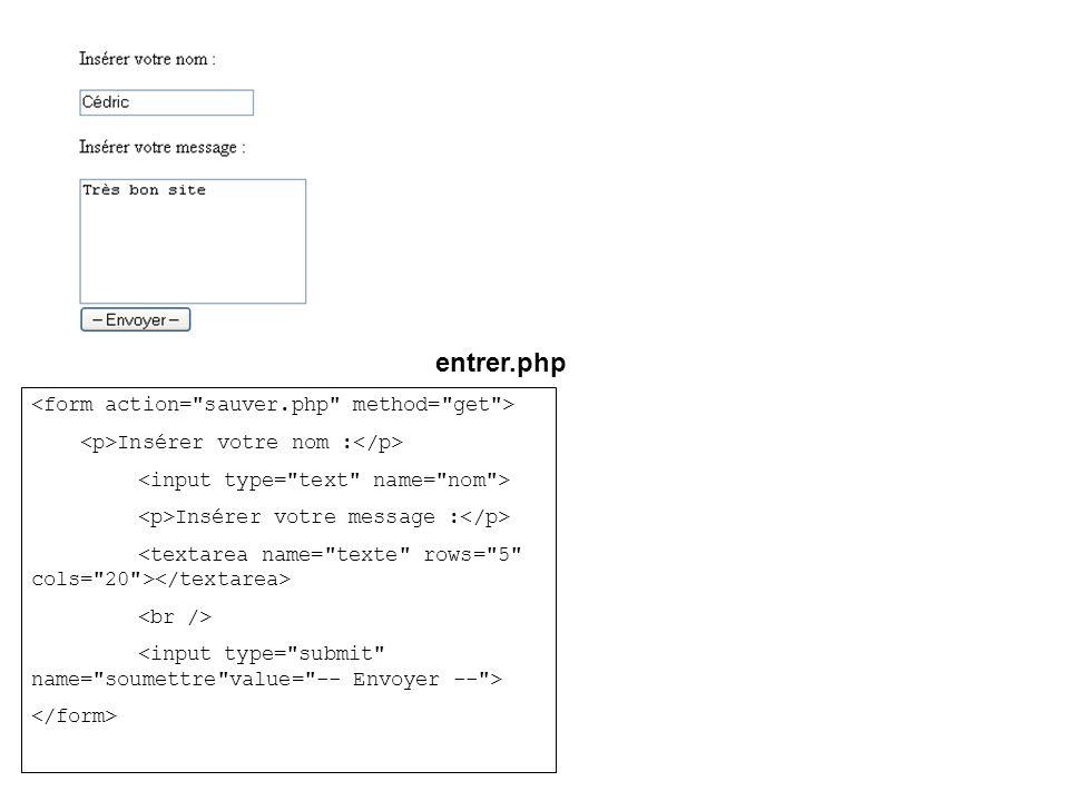 entrer.php Insérer votre nom : Insérer votre message :