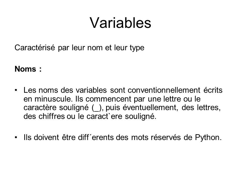 Variables Caractérisé par leur nom et leur type Noms : Les noms des variables sont conventionnellement écrits en minuscule. Ils commencent par une let