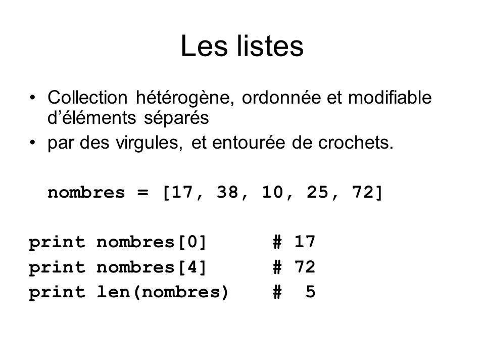 Collection hétérogène, ordonnée et modifiable déléments séparés par des virgules, et entourée de crochets. nombres = [17, 38, 10, 25, 72] print nombre