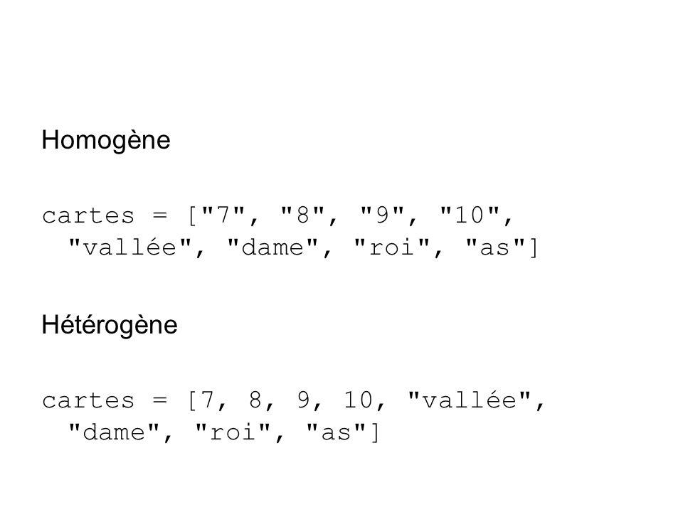 Homogène cartes = [