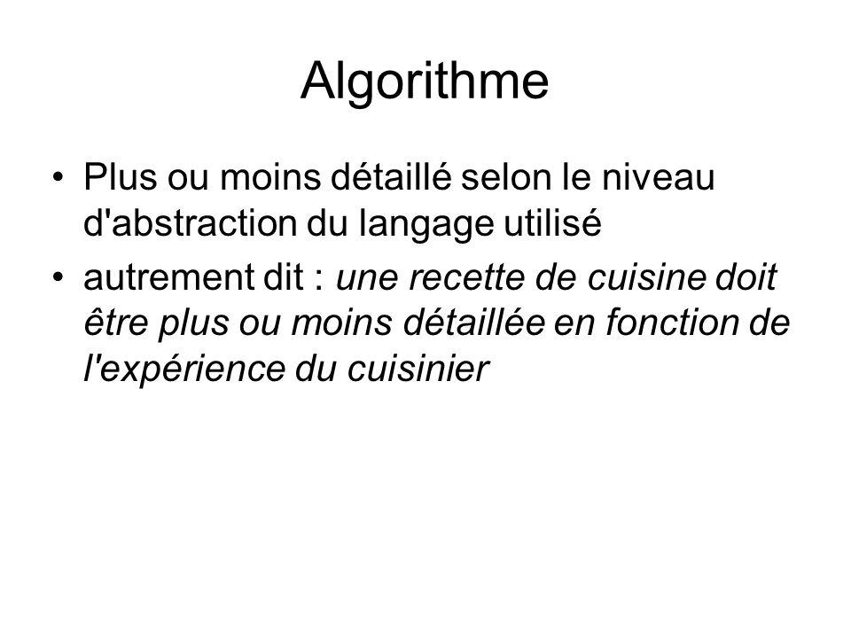 Algorithme Plus ou moins détaillé selon le niveau d'abstraction du langage utilisé autrement dit : une recette de cuisine doit être plus ou moins déta
