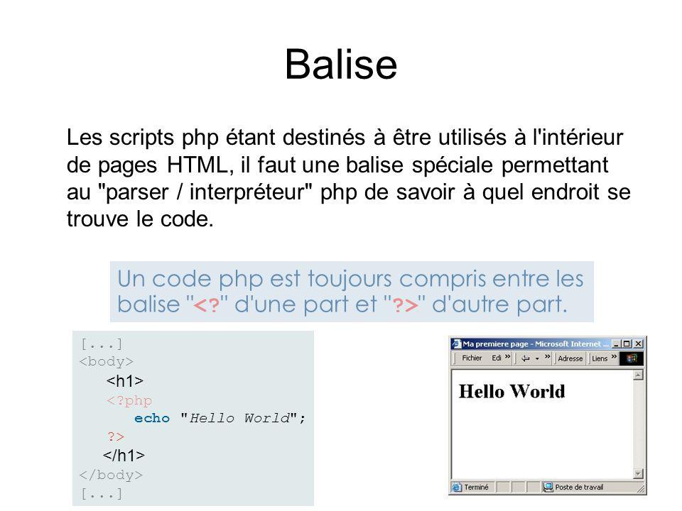 Balise Les scripts php étant destinés à être utilisés à l'intérieur de pages HTML, il faut une balise spéciale permettant au