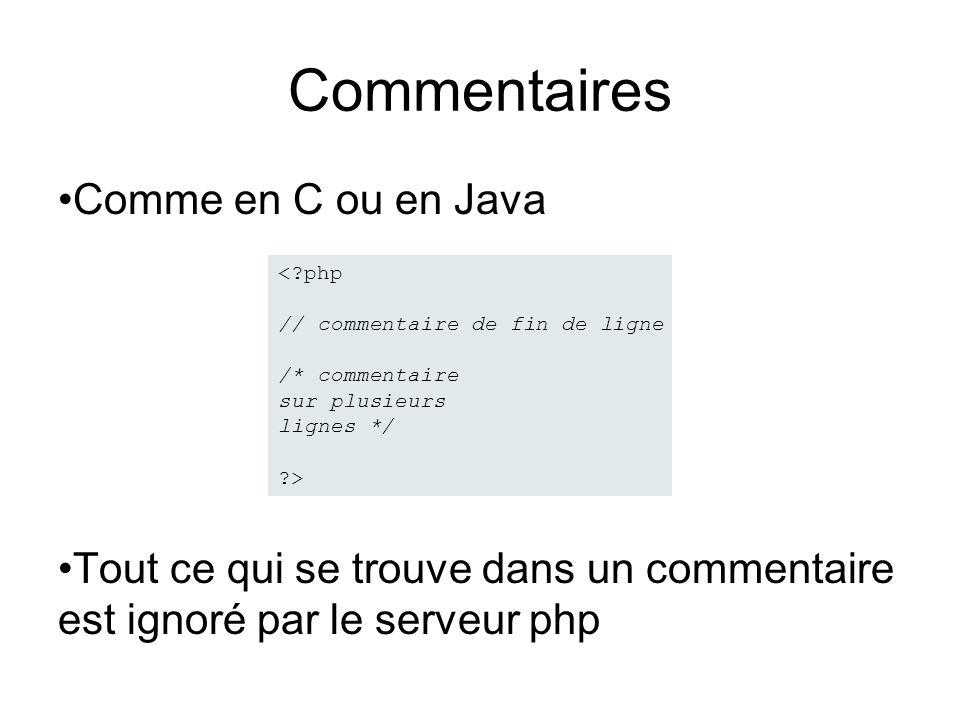 Commentaires Comme en C ou en Java Tout ce qui se trouve dans un commentaire est ignoré par le serveur php < php // commentaire de fin de ligne /* commentaire sur plusieurs lignes */ >