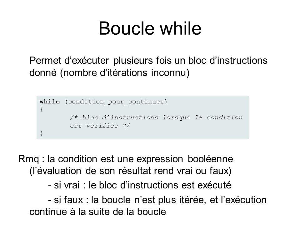 Boucle while Permet dexécuter plusieurs fois un bloc dinstructions donné (nombre ditérations inconnu) Rmq : la condition est une expression booléenne