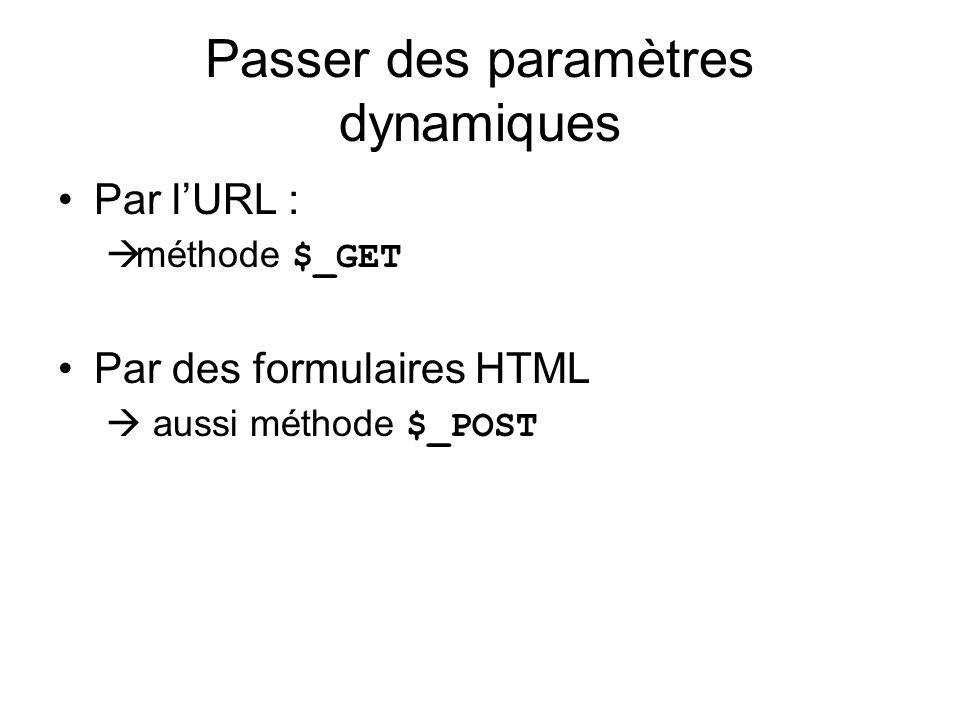 Passer des paramètres dynamiques Par lURL : méthode $_GET Par des formulaires HTML aussi méthode $_POST