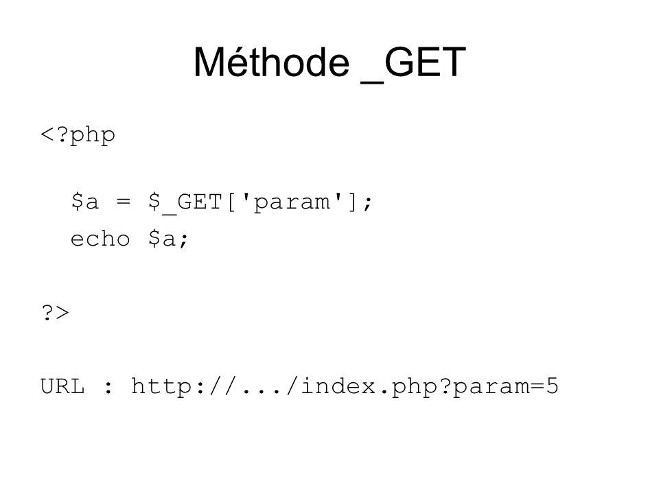 Méthode _GET <?php $a = $_GET['param']; echo $a; ?> URL : http://.../index.php?param=5