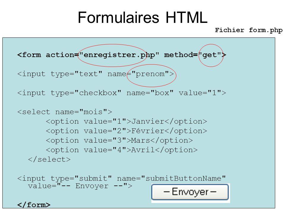 Formulaires HTML Janvier Février Mars Avril Fichier form.php