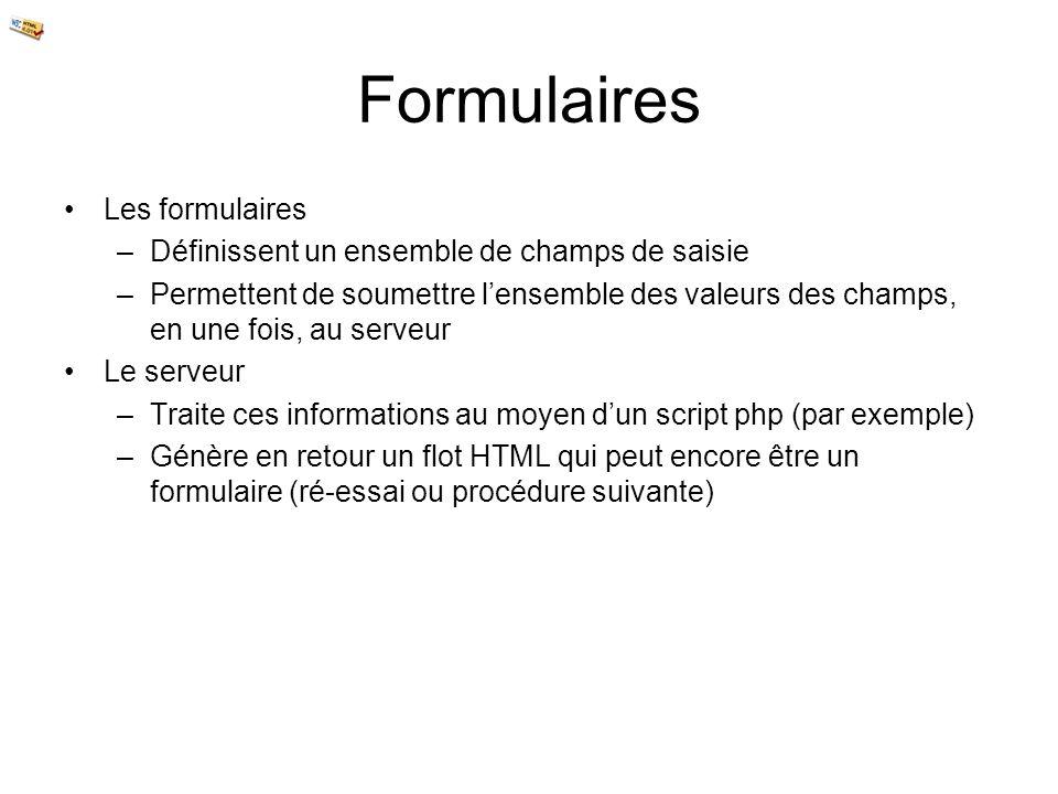 Formulaires Les formulaires –Définissent un ensemble de champs de saisie –Permettent de soumettre lensemble des valeurs des champs, en une fois, au se