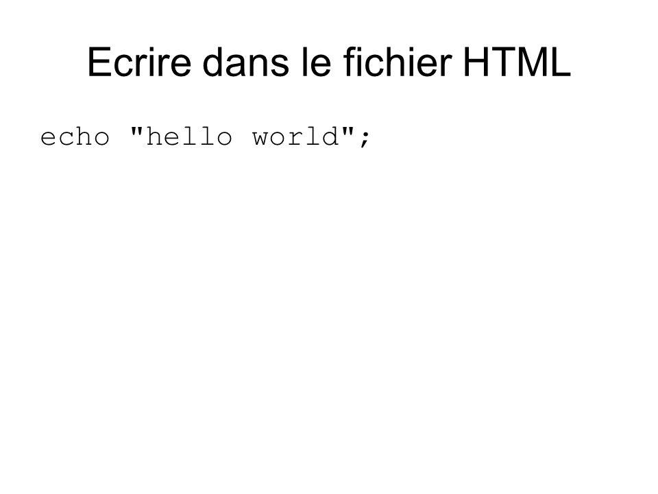 Ecrire dans le fichier HTML echo hello world ;