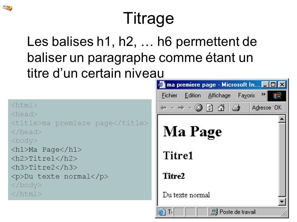 Titrage Les balises h1, h2, … h6 permettent de baliser un paragraphe comme étant un titre dun certain niveau ma premiere page Ma Page Titre1 Titre2 Du